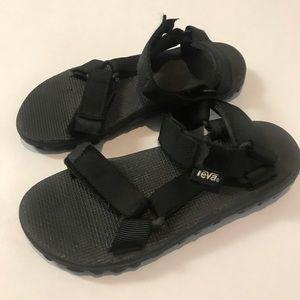 TEVA Black Open Toe Hook Loop Closure Sandals